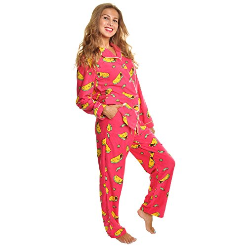 Price comparison product image Angelina Women's Cozy Fleece Pajama Set,  Tacos,  Small