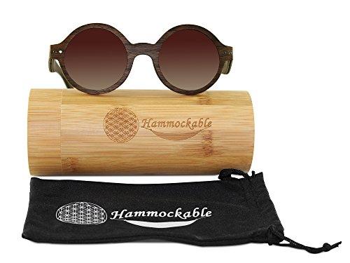 Retro Round Maple Wood Sunglasses - Vintage Lennon Style Shades with Polarized Lenses