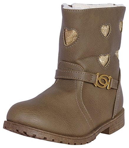 'Bebe Toddler Girls Boots with Interlocking b Hardware and Glitter Hearts, Taupe, Size 5'