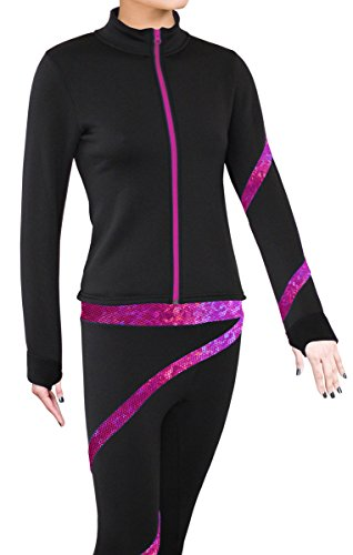 ny2 Sportswear Figure Skating Polartec Polar Fleece Spiral Jacket (Hologram Foil Hot Pink, Child Small)