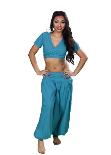 Choli Belly Dance - Belly Dance Cotton Harem Pants & Top Costume Set | The Belly Basic - Teal - Medium/Large