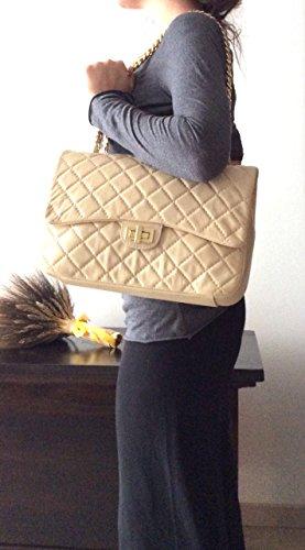 model Italy in Italian Women's Made Genuine Handbag Black XL Quilted SUPERFLYBAGS Parigi Leather w4ZaqYa
