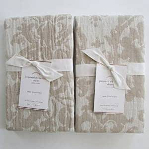 Pottery Barn JACQUARD MEDALLION Standard Shams ~~Set of Two~~Ivory/Flax/Neutral~