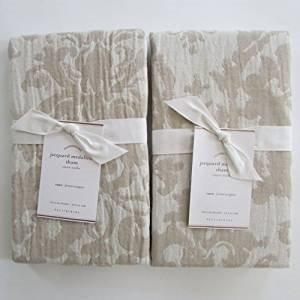 Pottery Barn JACQUARD MEDALLION Standard Shams ~~Set of Two~~Ivory/Flax/Neutral~ ()