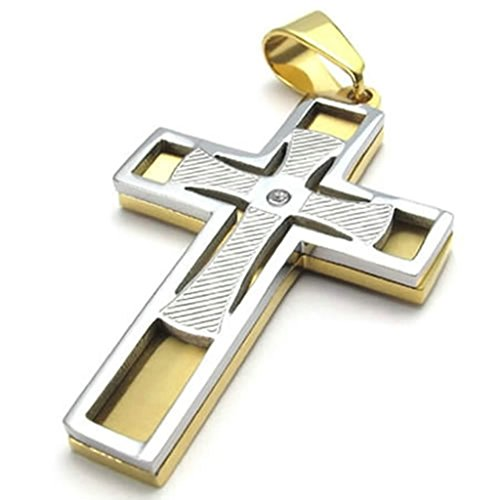 Bishilin Stainless Steel Gold Silver Polishing Cross Pendant Necklaces with Chain 20 Inch for Mens with Free Engraved (Blues Clues Couple Costume)