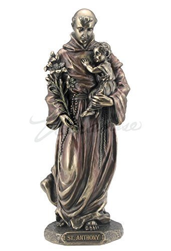 Gold Anthony Michael Cross (Saint Anthony of Padua Holding Baby Jesus Statue Sculpture Figurine (Bronze))