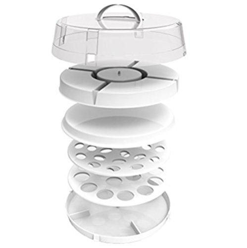 Crazy Chef stackable portable food carrier for cakes, cupcakes, deviled eggs, vegetables and dip  4 in1 party platter, appetizer platter. space saving, easy to carry plastic storage with lid