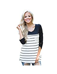 DaySeventh Women Long Sleeve Round neck Stripe Casual Blouse Shirt Tops