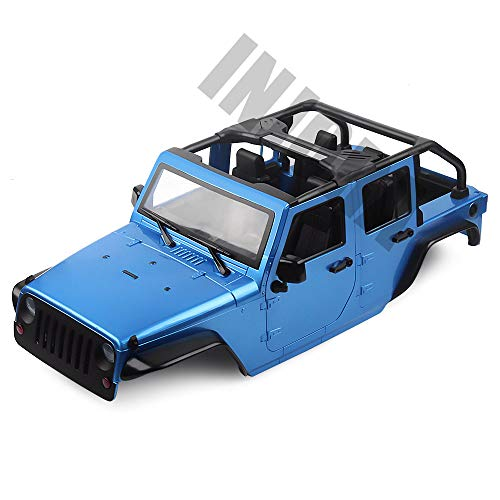 INJORA Unassembled Kit 313mm Wheelbase Convertible Open Car Jeep Wrangler Body Shell for 1/10 RC Crawler Axial SCX10 90046 (Blue)