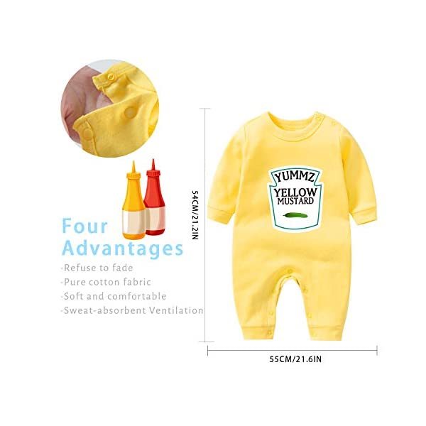 """Culbutomind Tutina per neonati con scritta """"Yummz Pomodoro Ketchup"""", mostarda, rosso, giallo, completo bimbi e bimbe… 2"""