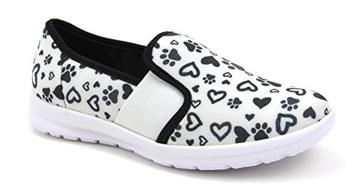 Sunny Women's Cute Memory Foam Elastic Gore Nursing Shoes - Printed - Florence (6, Paws and Hearts W/B)