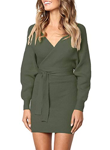 Women's Long Sleeve Wrap V Neck Knit Sweater Dress Loose Pullover Tops with Belted Pencil Midi Bodycon Knee Length Solid Green M 8 (Belted Knit Dress)
