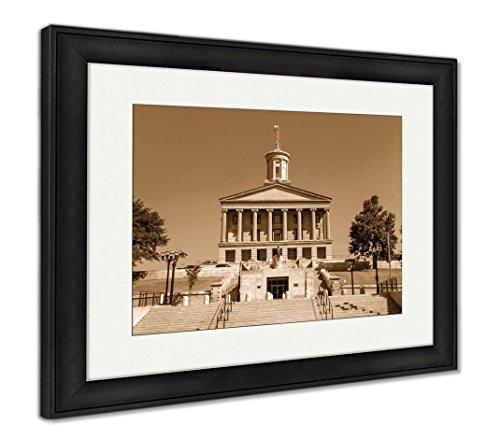Coliseum Framed (Ashley Framed Prints The Parthenon Nashville Tennessee, Wall Art Home Decoration, Sepia, 26x30 (Frame Size), Black Frame, AG6465553)