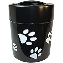 Pawvac 2.5 Pound Vacuum Sealed Pet Food Storage Container; Black Cap & Body/White Paws