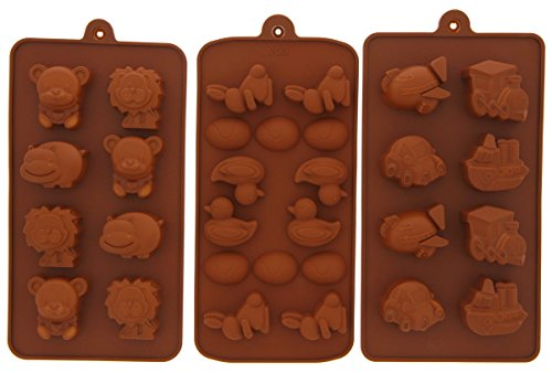Silicone Pastry Candy Gummy Mold - Chocolate Ice Cubes Soap - 3 Piece Set - 8
