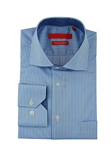 (DTI GV Executive Mens Striped Dress Shirt Cotton Spread Collar Barrel Cuff (18
