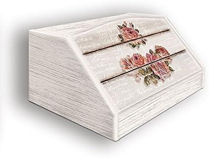 Lupia Caja para Pan, Estilo rústico, diseño Rosa, en Madera, 30 x 40 x 20 cm: Amazon.es: Hogar