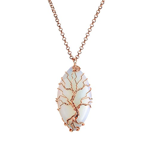 Copper Tree (Jovivi Vintage Tree of Life Wire Wrapped Copper Marquise Man-made Opalite Gemstones Healing Crystal Chakra Pendant Necklace w/Box)