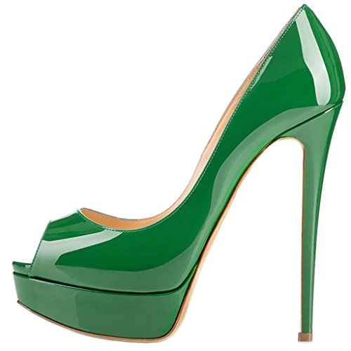 Calzeer Womens Cawinner Peep-toe 16cm Stiletto Slip-on Pumps Verde