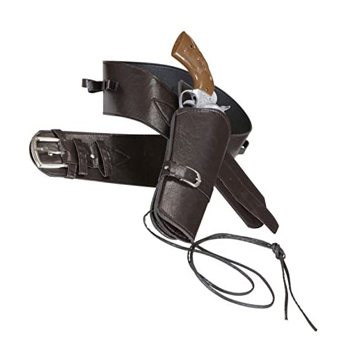 Widmann 01051–Ceinture de Cowboy avec pocheen imitation cuir Marron