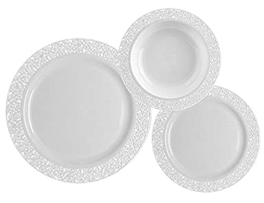 TTG 75 Piece Plastic Dinnerware Set | Lace Collection | (25) Dinner Plates