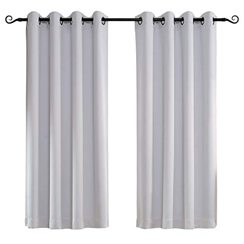 MYSKY HOME Solid Grommet top Thermal Insulated Window Blackout Curtains, 52 x 63 Inch, Greyish White, 1 ()