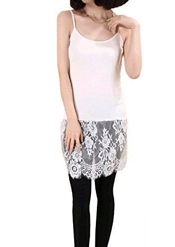 YOUMU Women Sexy Lace Dress Render Extender Sleeveless Long Tanks Cotton Top Black/White