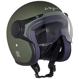 Vega Jet W/Visor Dull Army Green Helmet, L