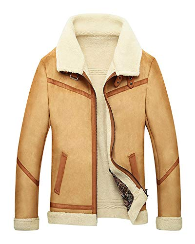 Mens Sherpa Wool Coat Lamb Velvet Fur Jacket Men Suede Parka in Autumn Winter (Khaki,S)