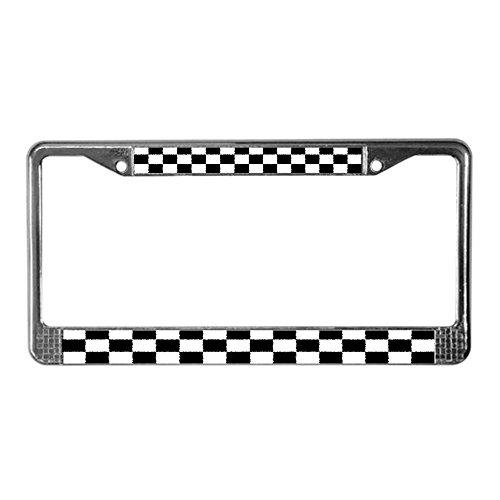 CafePress Checkered Flag Chrome License Plate Frame, License Tag Holder