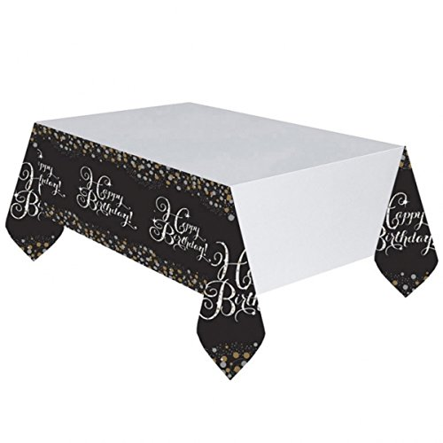 Amscan 99005491,37m x 2m Or Celebration Nappe en plastique Motif Happy Birthday