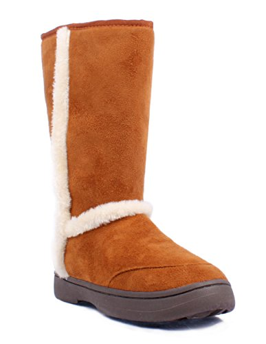 Bamboo Fashion Faux Fur Casual Slip on Only Womens Mid-calf Boots Size Shoes New Without Box Chestnut 8dMJeus3b