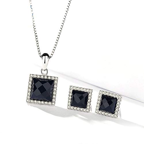 - MIKINI Womens Jewelry Set - 925 Sterling Silver Square Gemstone Black Agate Pendant Necklace 18 Inches, 925 Sterling Silver Box Chain Necklace (Black Agate)