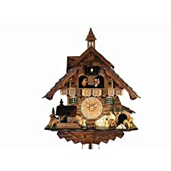 Quartz Cuckoo Clock with Music and Dancing Couple as Black Forest Chalet, 17.5 Inch
