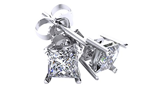 14K Solid White Gold Square Princess Cut Natural Diamond Stud Earrings (.25 (0.25 Ct Diamond Square)