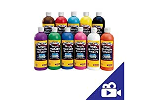 Colorations Simply Washable Tempera Paint - 16 oz., Set of 11 Colors (Item # SWT16)