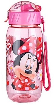 Kids Drinking Bottle Minnie Mickey Mouse Pooh Snow White folding straw school children drinking cup sipper bottle 400ml leakproof portable bottle soft mouth (Red)