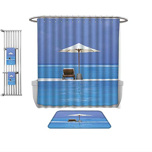 QINYAN-Home 4-Piece Bathroom Set-Seaside Decor Beach Chairs and Umbrella on A Island in The Middle of Ocean Seascape Picture Blue Beige, 1-Shower Curtain,1-Mats 1-Bath Towel-Multiple Sizes