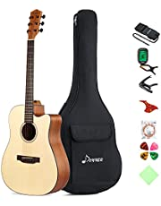 "Donner 6 DAG-1C Beginner Acoustic Full Size, 41"" Cutaway Guitar Bundle with Gig Bag Tuner Capo Picks Strap String, Right"