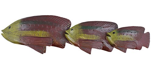 Resin Carved Wood Look Three Fish Statue Figure Table Topper - Bream, Perch, Angel Fish