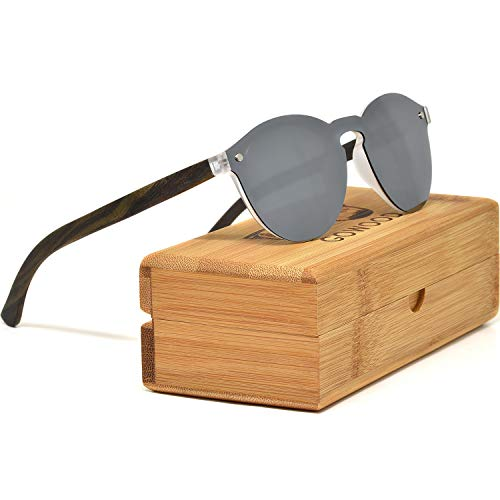 Round Reflective Ebony Wood Sunglasses For Women & Men with Special One Piece Style Silver Mirrored Polarized Lens and with Wood Box