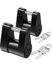 Domilay 2 Set Trailer Hitch Coupler Lock Trailer Coupler Padlock 1/4 Inch Hitch Pin 3/4 Coupler Span for Truck Trailer RV Boat