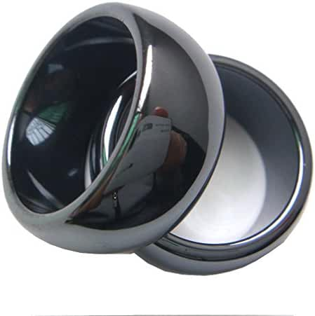 dohuwell 2pcs 10mm Natural Black Wide Plain Hematite Stone Finger Band Men's Women's Rings Gift Box