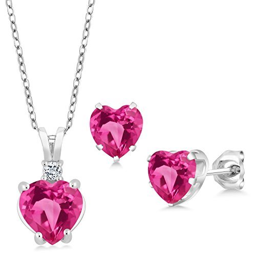 3.48 Ct Heart Shape Pink Created Sapphire 925 Silver Pendant Earrings Set by Gem Stone King