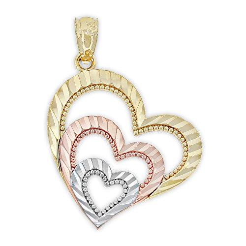 Charm America - Gold Diamond-cut Triple Heart Pendant - 14 Karat Tri Color Solid Gold ()