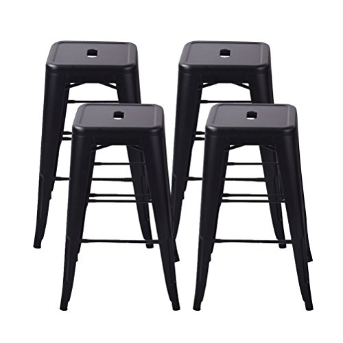 Stool Backless Black (Tongli Metal Barstool Counter Industrial Patio Dining Chair for Indoor-Outdoor Matte Black Backless(set of 4) 26
