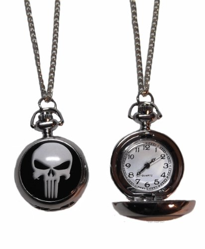 """Marvel+Watches Products : Marvel Comics THE PUNISHER Skull Logo PENDANT WATCH on 30"""" Chain"""