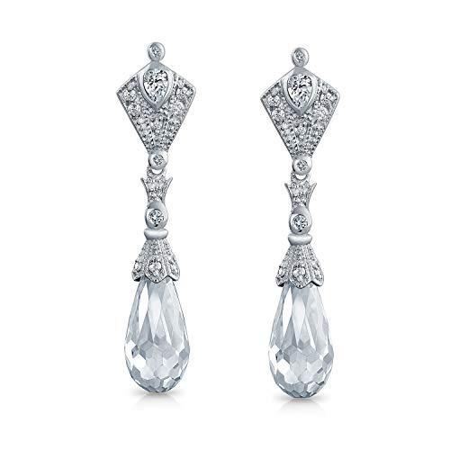 Briolette Faceted Teardrop Cubic Zirconia CZ Chandelier Earrings For Women Prom 925 Sterling Silver ()