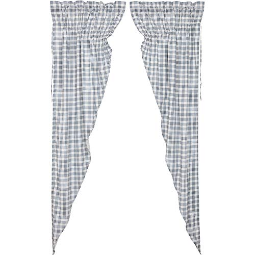 VHC Brands Farmhouse Curtains Sawyer Mill Plaid Rod Pocket Cotton Drawstring Ties Prairie Panel Pair Blue Denim