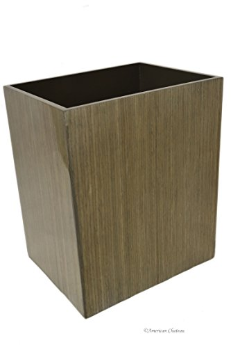 - American Chateau Rectangular Large MDF Wood Walnut Veneer Waste Basket/Garbage Can Bin